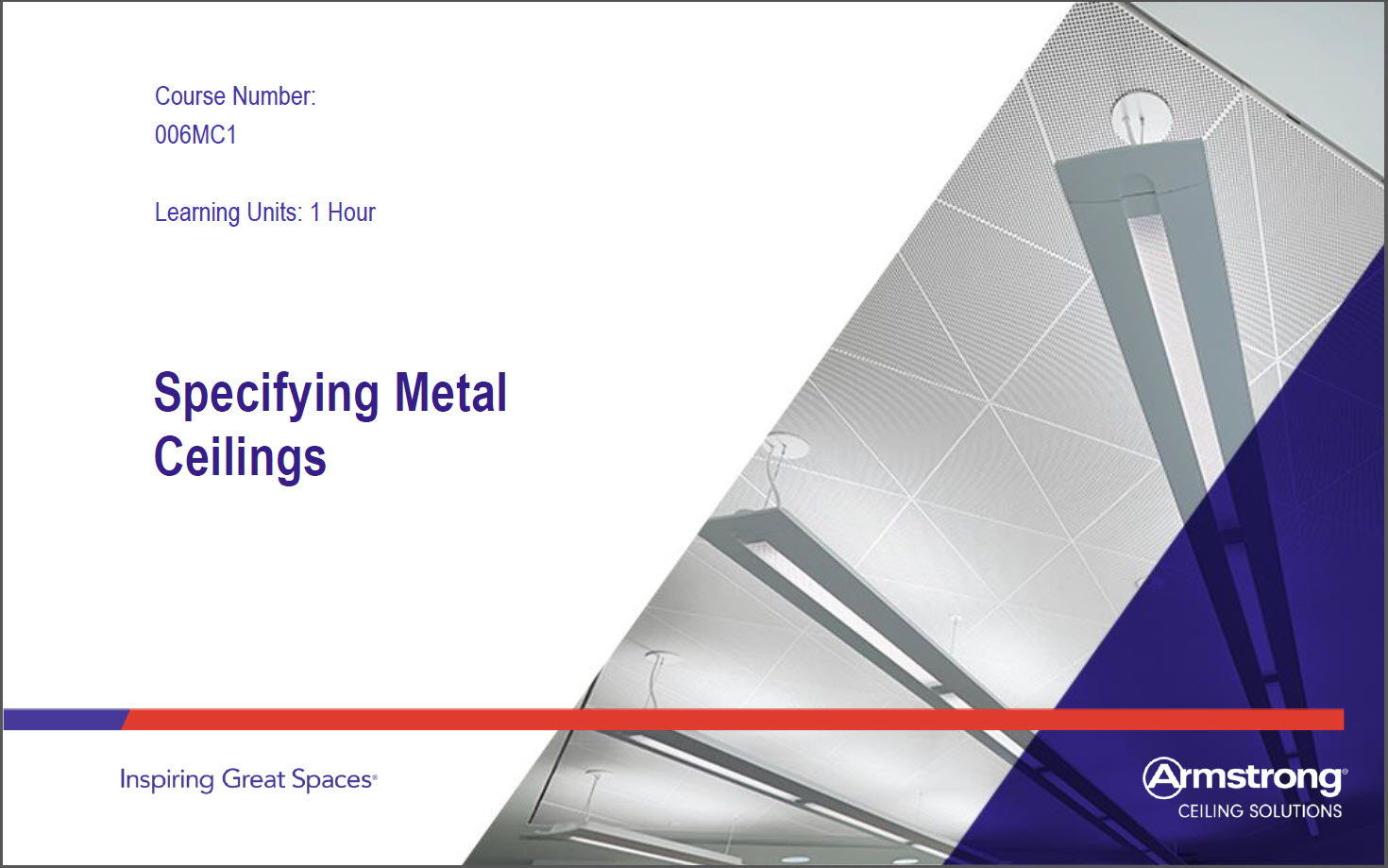 Specifying Metal Ceilings AIA CEU Cover