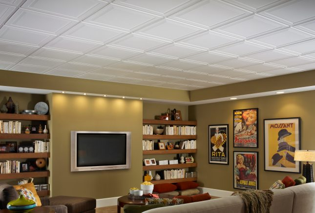 Bat Ceiling Ideas | Armstrong Ceilings Residential on 8x16 home designs, 8x12 home designs, 1 bedroom home designs, 16x40 home designs, 16x32 home designs, 14x30 home designs, 20x30 home designs, 18x20 home designs, 20x40 home designs, 20x20 home designs,