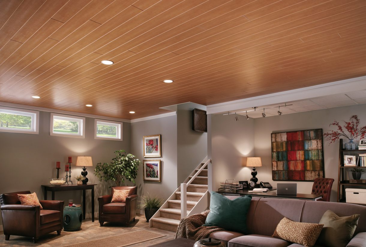 Wooden ceiling designs for living room for Armstrong design a room