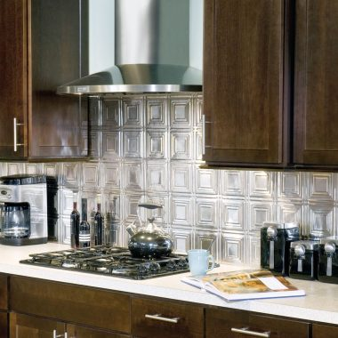 Contemporary Kitchen with Metal Backsplash