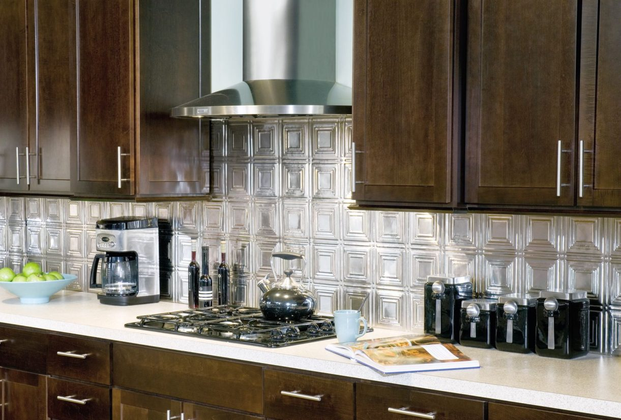 Metal backsplash tiles armstrong ceilings residential contemporary kitchen with metal backsplash dailygadgetfo Choice Image