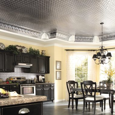 Large Kitchen with Metal Look Ceiling