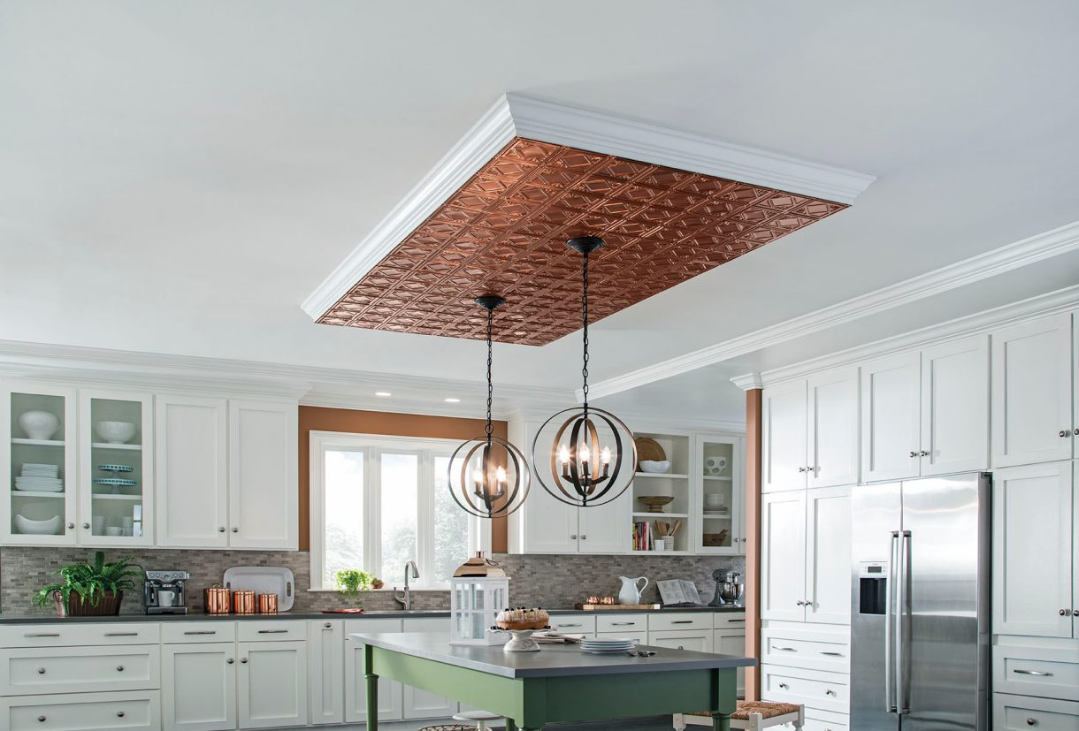 wood copper kitchen accent design | Metallaire Surface Mount Installation | Ceilings ...