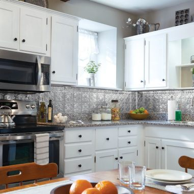 Charming Kitchen with an Antique Backsplash