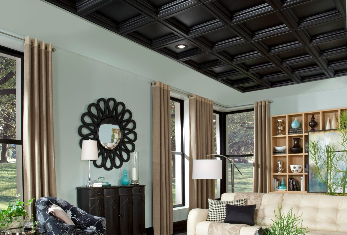 Black ceiling tiles armstrong ceilings residential easy elegance deep coffer in black dailygadgetfo Image collections