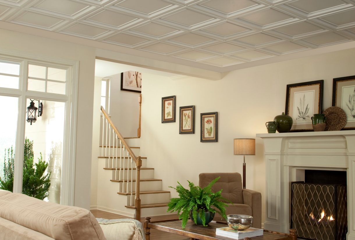 Cleaning ceiling armstrong ceilings residential easy elegance shallow coffer white dailygadgetfo Gallery